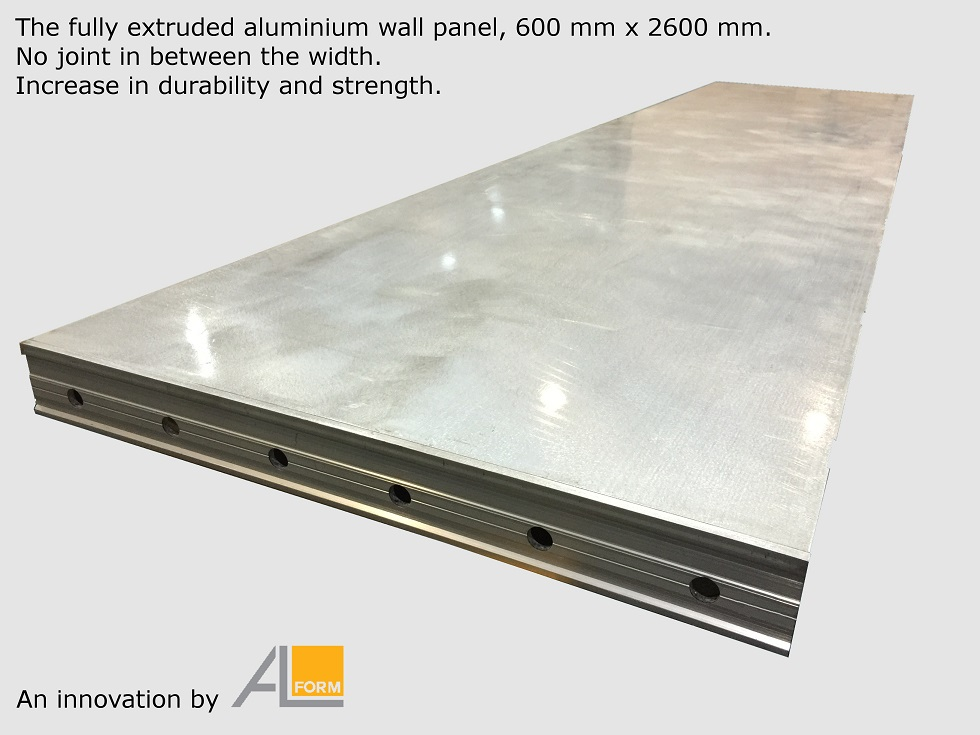 Fully extruded aluminium formwork wall panel